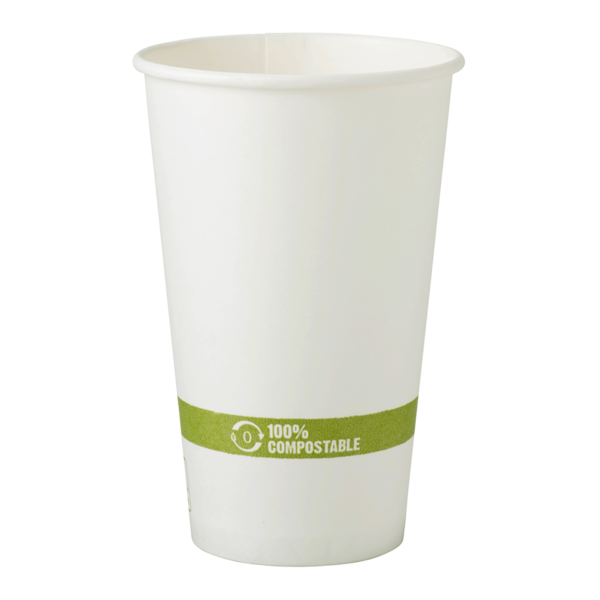 WCT Compostable Ingeo Lined 16 oz FSC Paper Hot Cup - White 1,000 ct.