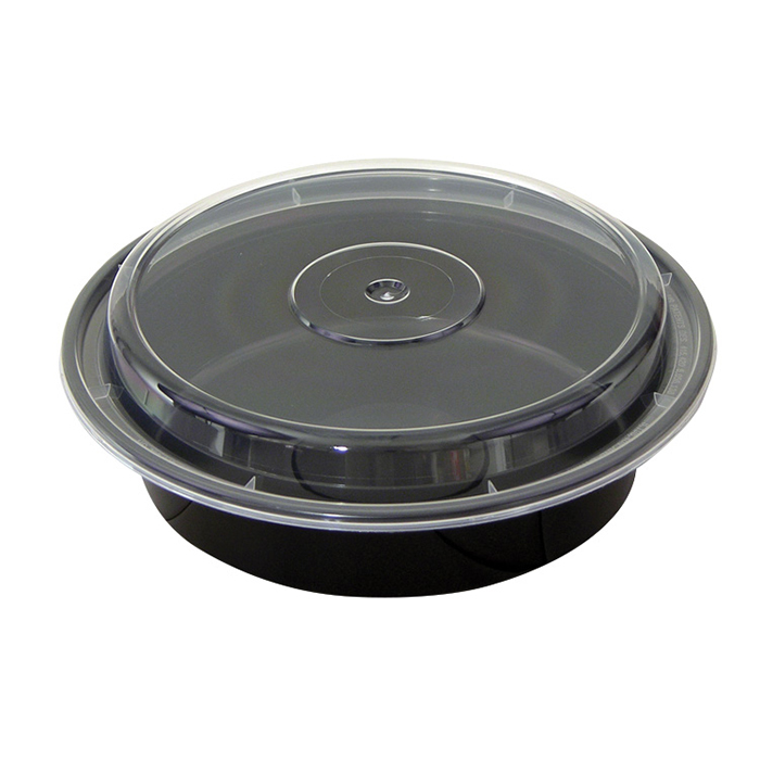 Pactiv Newspring 24oz Round VERSAtainer Black Base w/Clear Lid NC-723B - 150 ct