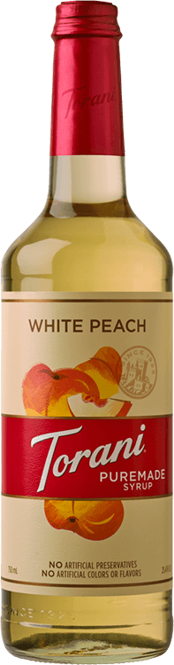 Torani White Peach Puremade Syrup 750ml - 4/Case