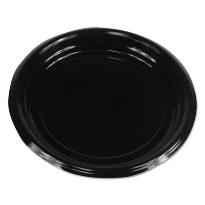 "Boardwalk Hi-Impact Plastic Dinnerware Plate 9"" Diameter, Black 500/Carton"