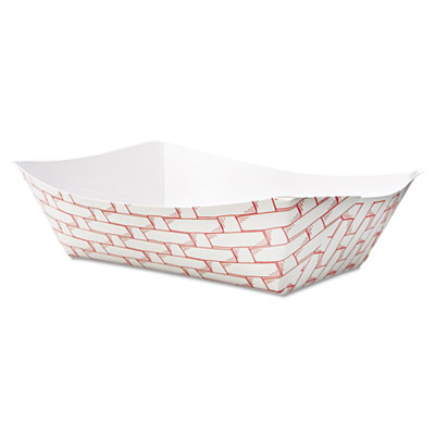 Boardwalk Paper Food Baskets 3lb Capacity Red/White 500/Carton