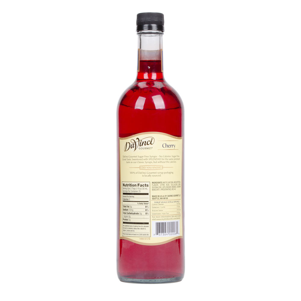 DaVinci PET Sugar Free Cherry Syrup 750 ml