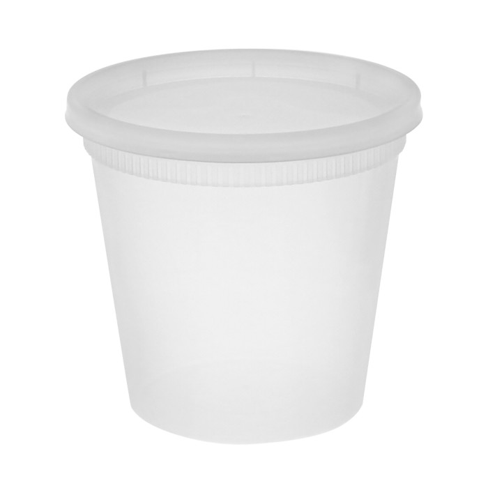 DELItainer 24oz Translucent Polypro Heavyweight Deli Cup/Lid Combo YL2524 240/240
