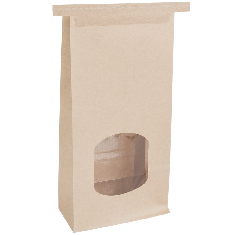 PC Coffee Bag Kraft w/Window Tin Tie 1lb - 500ct