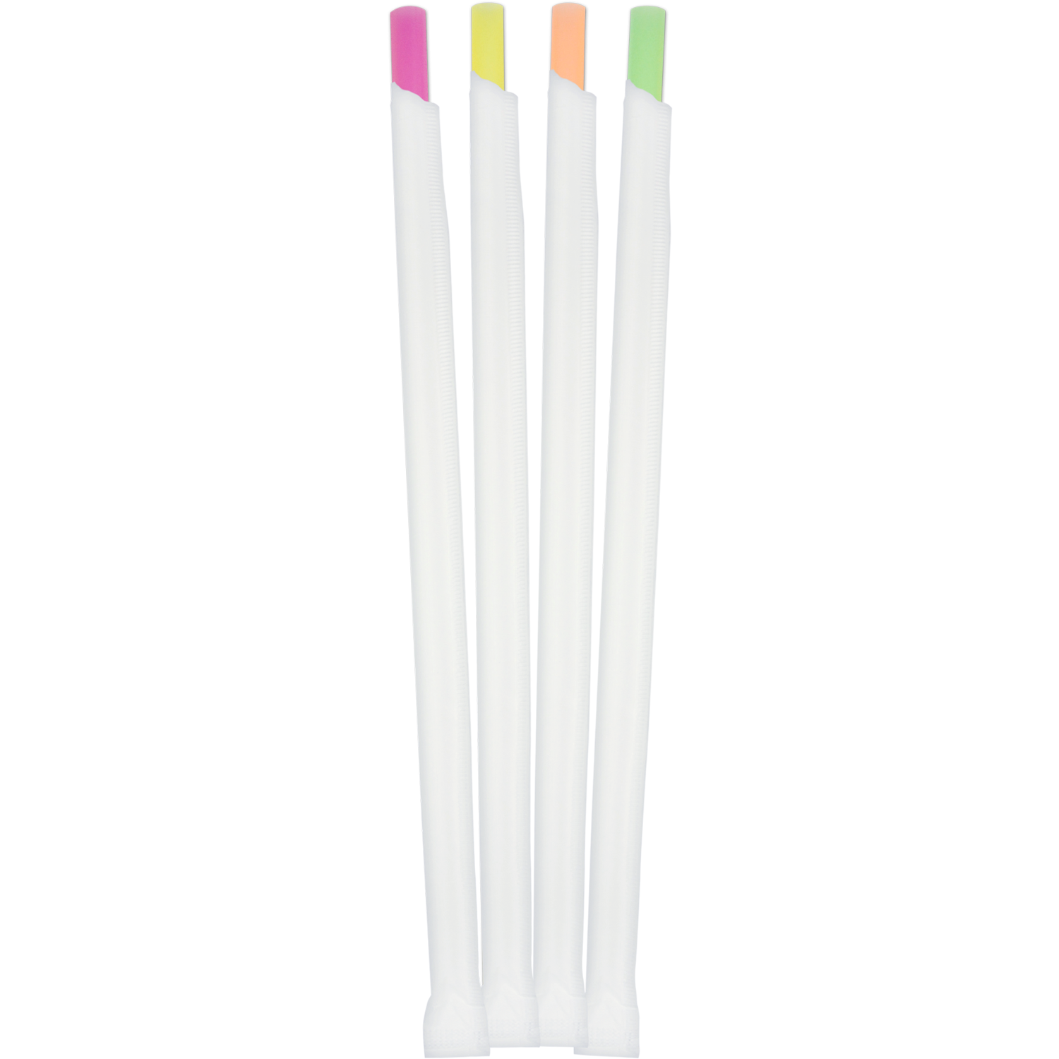 "Medium Shake Straw (8mm) Neon Assorted Super Giant Wrapped 7.75""L - 7200/case"