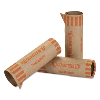 Preformed Tubular Coin Wrappers Orange Quarters $10 - 1000/Carton