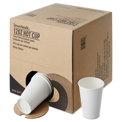 Convenience Pack Paper Hot Cups 12 oz White 9 Cups/Sleeve 25 Sleeves- 225/Carton