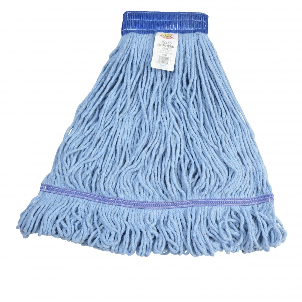 Janico 3042 Large Blue Blended Cotton 5 Inch Wide Headband Looped End Mop Head (EA)