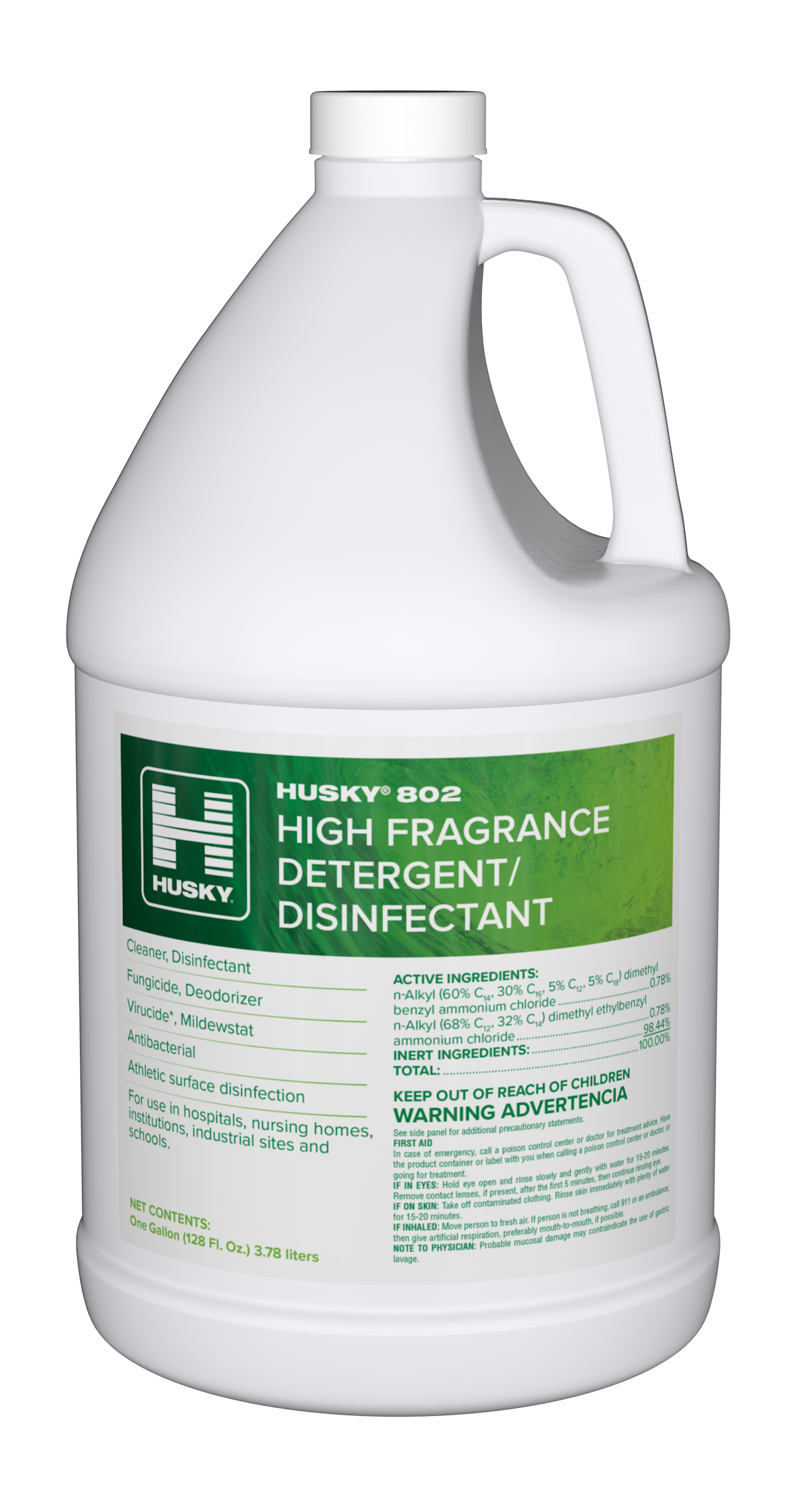 Husky 802 High Fragrance Mint Detergent/Disinfectant - 1 Gallon (128 fl oz)