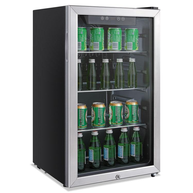 Alera 3.4 Cu. Ft. Beverage Cooler Stainless Steel/Black