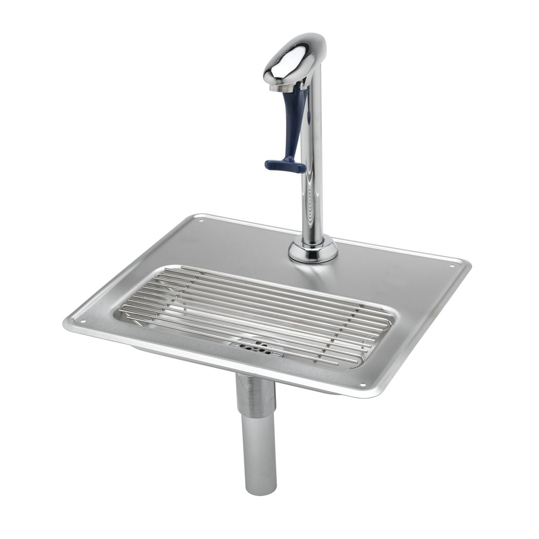 """T&S Brass Water Station w/ 12"""" Pedestal Glass Filler & Drip Pan Assembly B-1230-12"""