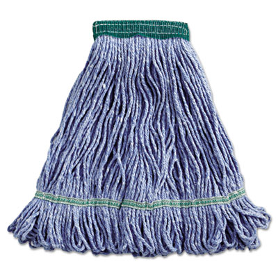 "Boardwalk Super Loop Wet Mop Head Cotton/Synthetic Fiber 5"" Headband Medium Size Blue"