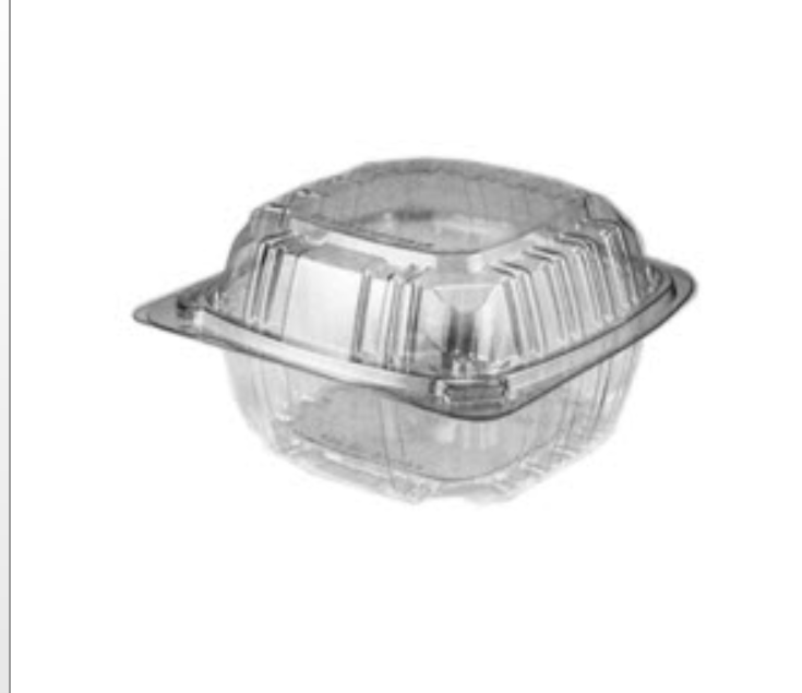 HCP603 BE&K Plastics 6x6x3-3/8 Clear Hinged Container 4/125