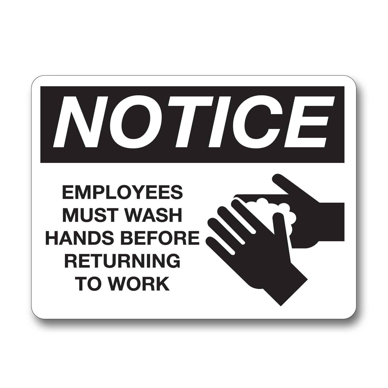 Employee Wash Hands Notice Sign Aluminum - Black