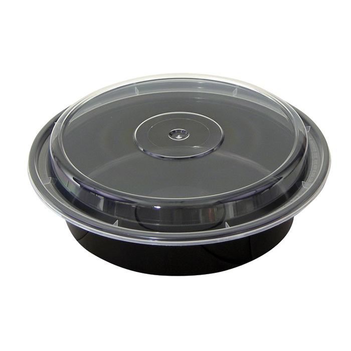 Pactiv Newspring 24oz Round VERSAtainer Black Base w/Clear Lid NC-723B - 150 ct
