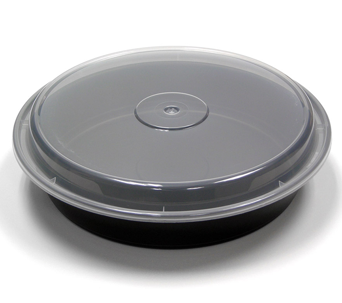 "18-700124 - Pactiv NC948B 48oz 9"" Round Micro Container Black Base/Trans Lid 150ct"