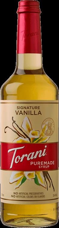 Torani Signature Vanilla Puremade Syrup 750ml - 4/Case