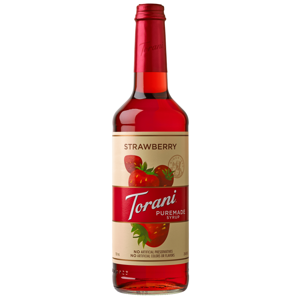 Torani Strawberry Puremade Syrup 750ml - 4/Case
