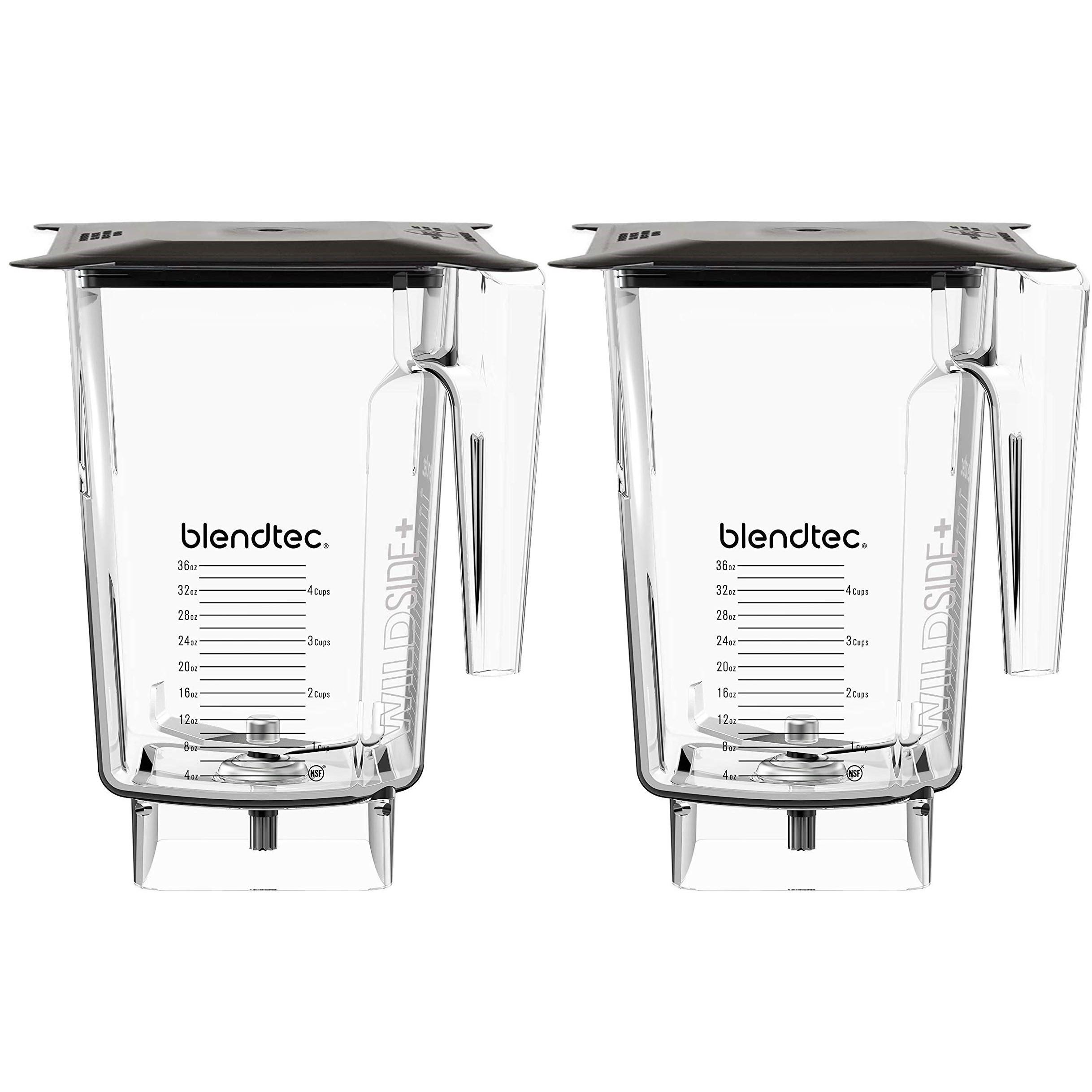 Blendtec WildSide Jar CLEAR Blk Soft Lid 4 Wingtip Blade Accessory (2 Pack)