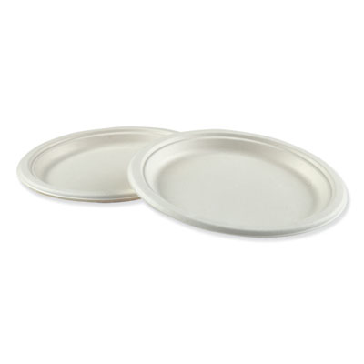 "Boardwalk Bagasse Molded Fiber Dinnerware Plate 9"" Diameter White 500/Carton"