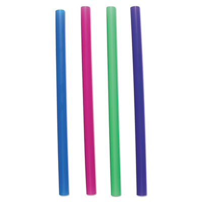 "Unwrapped Colossal Straws, 8 1/2"", Blue, Green, Pink, Purple, 4000/Carton"