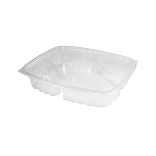 Dart 32 oz Clear 3-Compartment Diagonal Nacho ClearPac® Container Base C30DX3R - 252 ct.