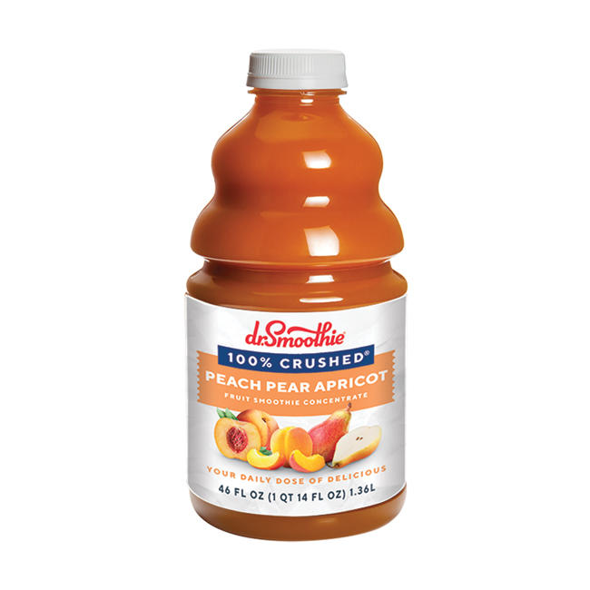 25-60435E1 - Dr Smoothie 100% Crushed Peach Pear Apricot 46oz BOTTLE
