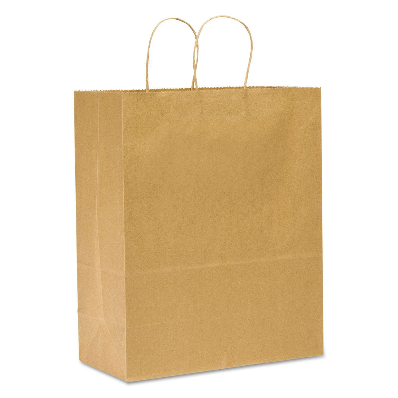 Duro Tuffy Sup-R-Mart Plain Twist Handle Bag 13x7x17 65# Kraft 250ct