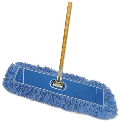 """Boardwalk Looped-End Dust Mop Kit 36 x 5 - 60"""" Metal/Wood Handle, Blue/Natural"""