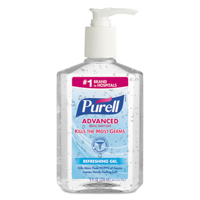 18-GOJ965212CT - Go-Jo Purell Advanced Hand Sanitizer Refreshing Gel, Clean Scent, 8 oz Pump Bottle, 12/Carton