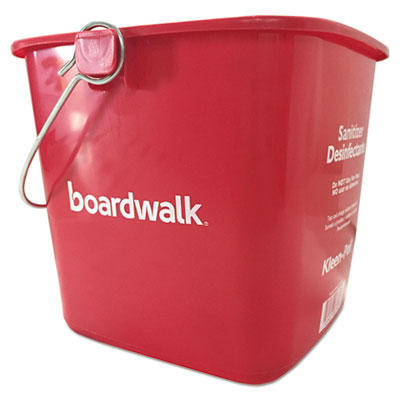 Boardwalk Sanitizing Bucket 6 qt Red Plastic