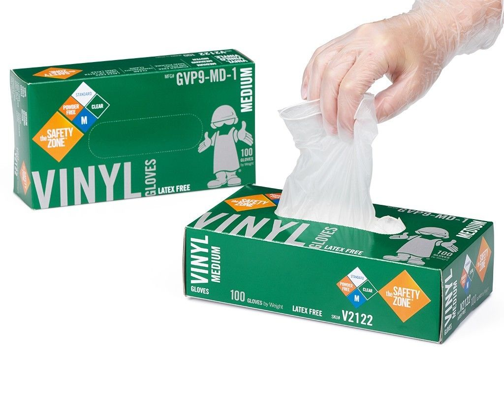 Safety Zone Vinyl Glove Powder Free - Medium 100 ct.