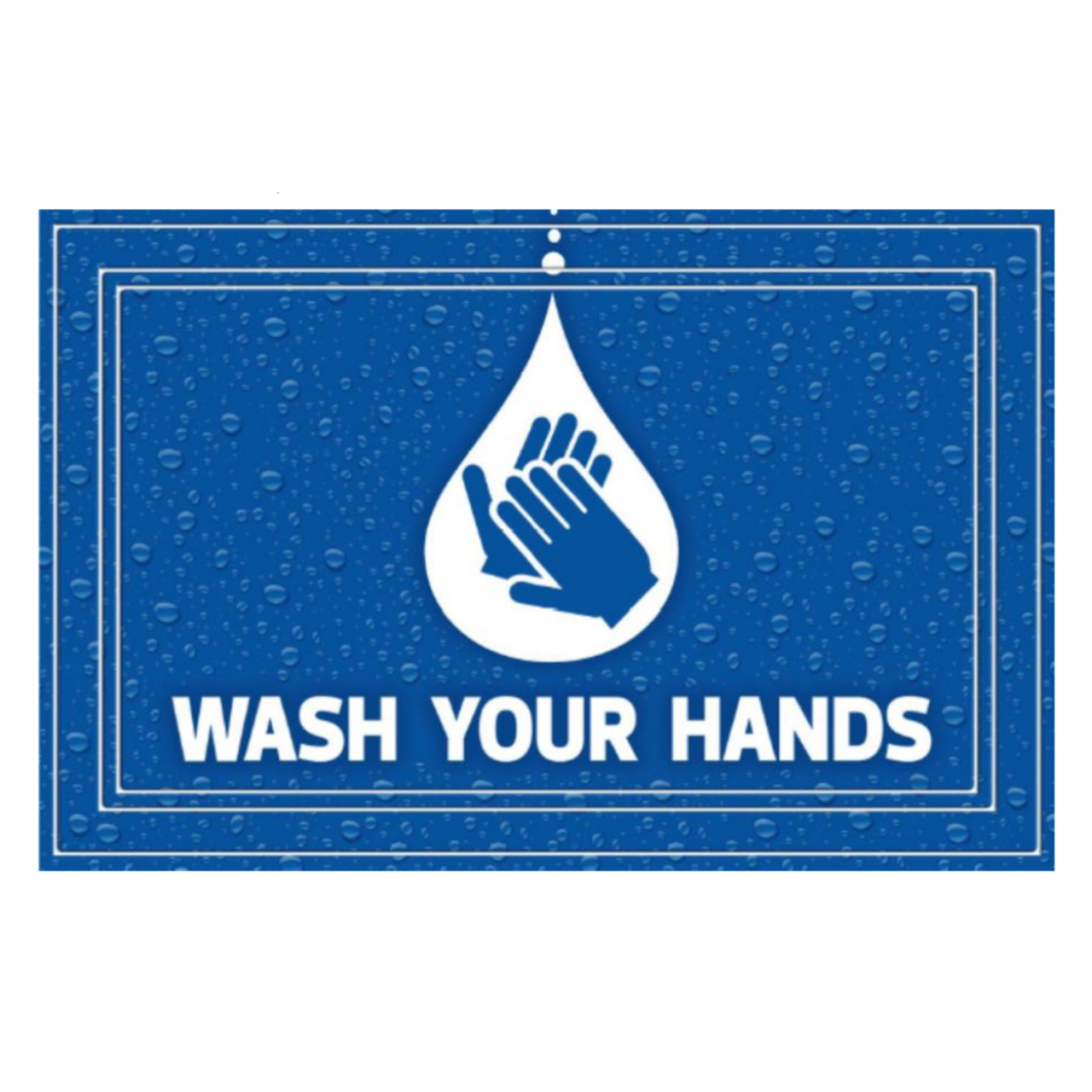 "13-39845288202400036 - SANIGUARD Germ Protection Awareness Rubber Molded Recycled Mat Wash Your Hands Blue 24"" x 36"""