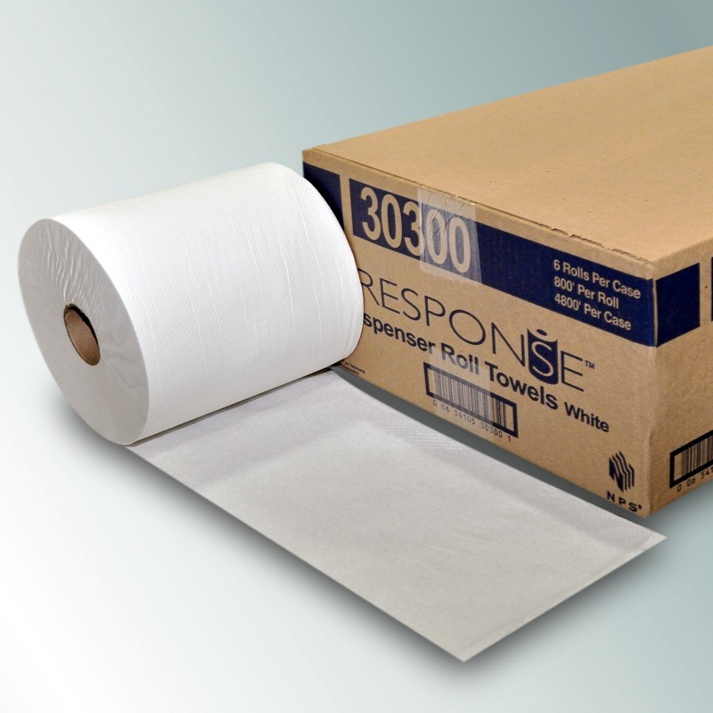 NPS 30300 - White Roll Towel 6/8x800 Case